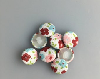 Fabric Covered Buttons - Flower Buttons Set of 8