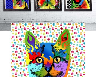Pop art cat Print cat art print art wall art pop surrealism illustration cat lover gift cute cats art print kitten kitty wall decor digital