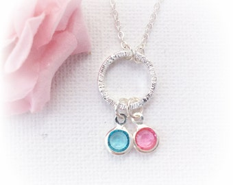 Birthstone Necklace,circle pendant, birthstone Jewellery,Birthstone Gift, circle necklace,Birthstone, eternity necklace, SF2BNCN1