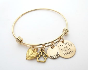 Personalized Bracelet - Gold Memorial Bracelet - Cat - Dog - Personalized Bangle - Remembrance Bracelet - Personalized Jewelry - Wing