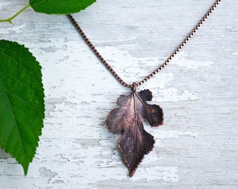 Real Leaf Necklace / Botanicalical Jewwlry / Fall Necklace / Electroformed Jewelry / Fall Jewelry / Nature Inspired Necklace