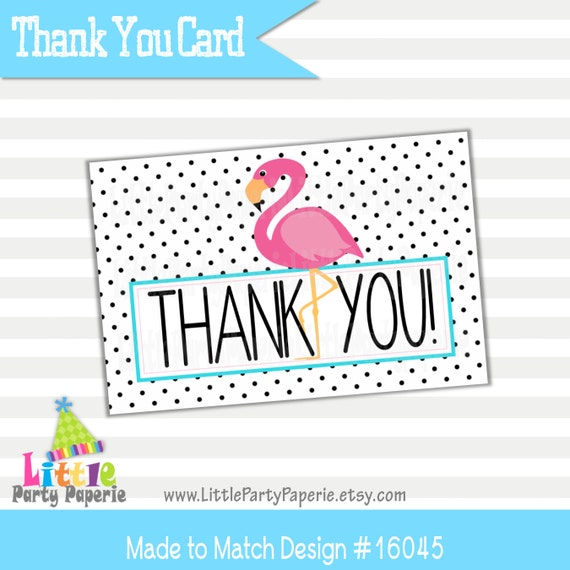 Lovely Flamingo Thank You Cards | Flamingle Thank You Cards | Printable  WL42