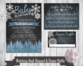 Baby Its Cold Outside Baby Shower - Winter Baby Shower - Baby Shower Invitation - Snowflakes - Snow Baby - Book Request - Diaper Raffle