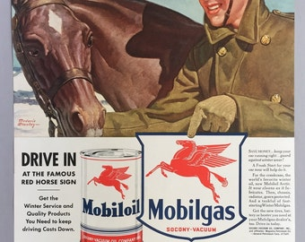 1941 Socony-Vacuum Oil Company Print Ad - Mobiloil and Mobilgas - WWII Era