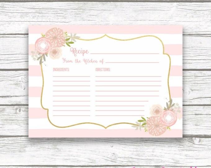 Pink Floral Bridal Shower Recipe Cards, Kitchen Shower Invitation Recipe Card Insert, Brunch & Bubbly Pink Striped Wedding Instant Download