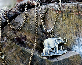 Gift for Mom african jewelry african necklace elephant jewelry elephant necklace elephants charm Boho jewelry bohemian necklace boho necklac