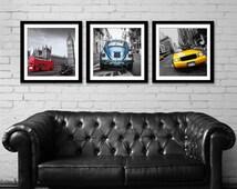 Set of 3 prints, Car Print Set, Print Set Wall Art, Wall Decor, Gifts for Dad, for Men, City Wall Art, Set of City Prints, London, New York