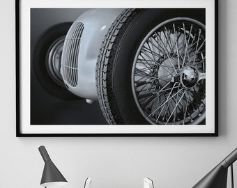 Classic Car Photo, Black and White, Vintage, Retro, Mercedes Benz, Minimalist Fine Art Print, Large Wall Art, Automobile, Gift, Wall Decor