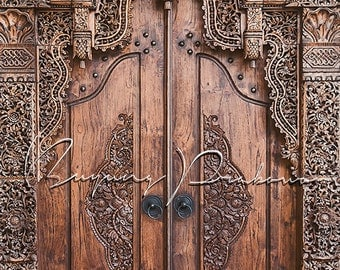 Full Part Of Traditional Javanese Floral Engrave Natural Wooden Door Photography, decoration, interior, exterior, asian,Indonesian,Culture