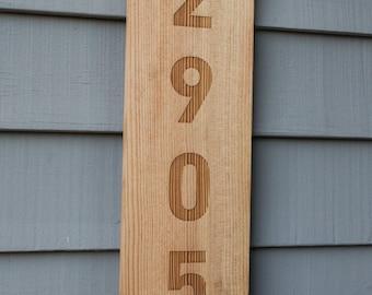 Custom Wood House Sign / Cedar Sign / Vertical Laser Engraved Sign