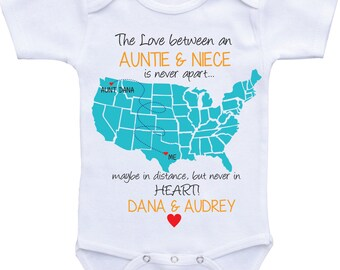 I love my auntie etsy personalized country state map aunt onesies aunt and niecenephew auntie onesie aunt baby clothes negle Image collections