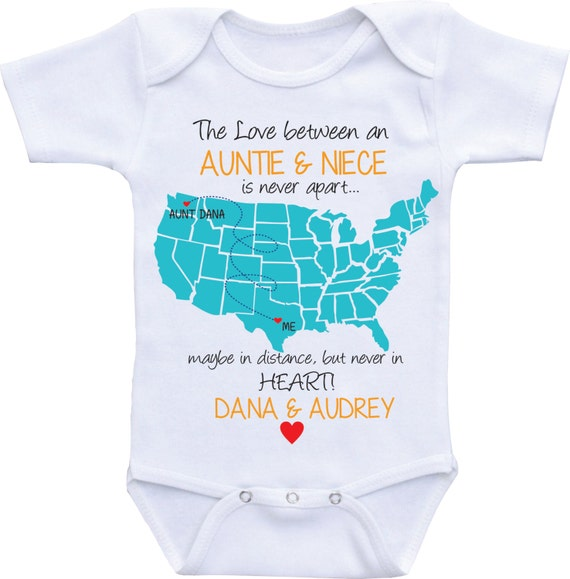 Personalized country state map aunt onesies aunt and like this item negle Image collections