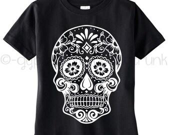 Sugar Skull Kids Shirt - Skull Print Kids Top - Sugar Skull Top - Day of the Dead Shirt - Skull Crew Neck - Halloween Top -
