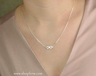 Infinity Necklace / Sterling Silver, Gold, Rose Gold / Delicate Necklace / Layering Necklace