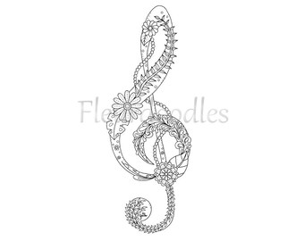 adult coloring page treble clef music colouring pages floral coloring books zentangle musical gifts tattoo art mandala printable