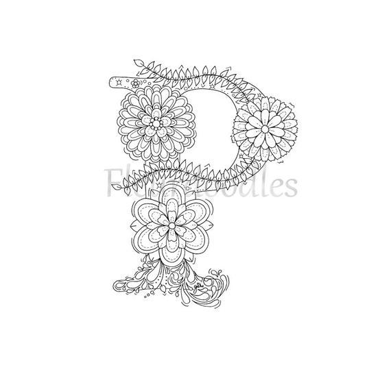 adult coloring page floral letters alphabet p lettering