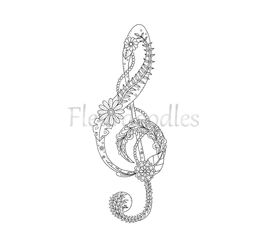 This is a picture of Agile Treble Clef Coloring Page