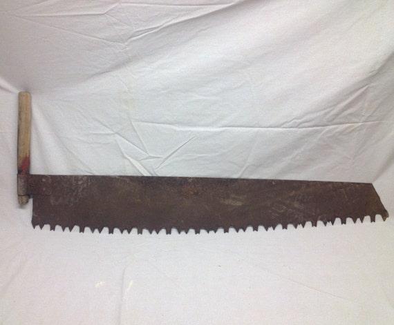The Cross Cut Saw On A Wall Mount : Antique lumberjack crosscut one man logging saw rusty patina