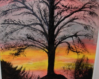 Original Painting, Last Sunset, Canvas Board, Acrylic Paint, Free Shipping