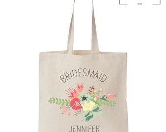 Bridal Party Flower Tote - Custom Name - Wedding - Gift