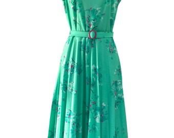 70s Vintage Violet Seafoam Pleated 40s Revival Tea Dress