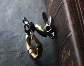 Rabbits Skull Ring - Black Version by Defy - Original Brass Handmade Jewelry - Statement Ring
