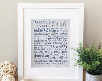 Family rules, wood grain art, personalized family rules, personalized art, personalized decor