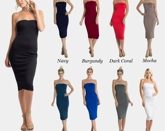 D4804 Strapless Knee Length Elastic Neckline Band Fitted Fully Lined Tube Dress (MADE IN USA)