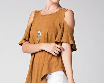 T30038 Washed Cotton Cold Shoulder Short Sleeve Round Neck Princess Seam High Low Shirt Tail Hem T Shirt Tunic Top (Made in USA)