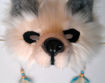 SOLD Spirit/Totem Animal (WOLF) Mask  (White) (AVAILABLE made to order)