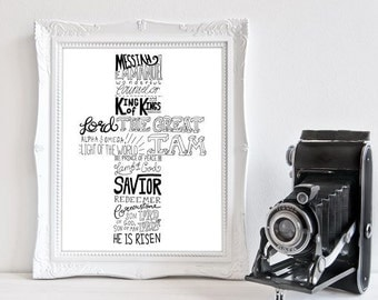 Typography Cross Names Of Jesus - Hand Lettered Art Print A4 or A5