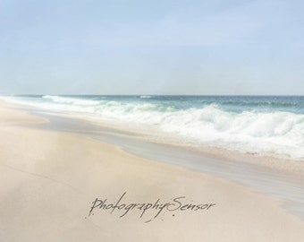 White Wave Photography of beach, Sea, Summer, Blue Sky, Holiday, Pastels, Print on Paper Art, Landscape Nursery, Printing