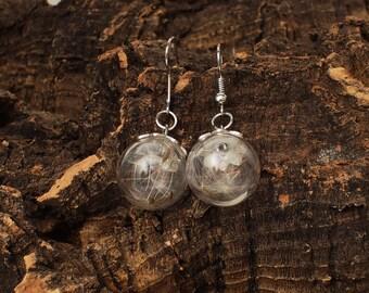 Dandelion earrings. Earrings sphere seeds lion tooth. Natural earrings. Boho style earrings