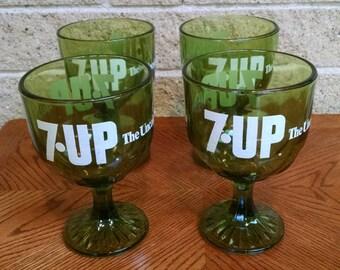 7 UP Stemmed Goblets Glasses - Green  7UP The Uncola Beverage Glassware - Vintage Seven UP