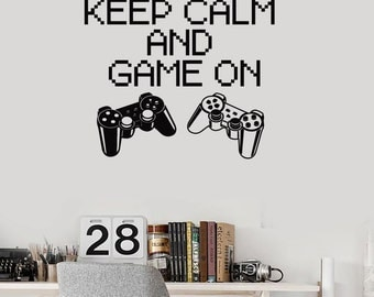 Wall Vinyl Decal Children's Room Decor Keep Calm and Game On Computer Game Joysticks Decoration (#1108di)
