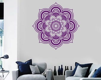 Wall Vinyl Decal Mandala Pattern Symbol of Universe Cosmos Indian Religious Spiritual Modern Home Decor (#1256da)
