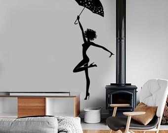 Wall Vinyl Decal Girl Beauty Pretty Sexy With Umbrella Romantic Bedroom 1385dz