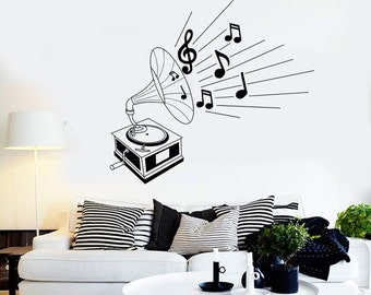 Wall Vinyl Music Gramophone Retro Classic Art Guaranteed Quality Decal Mural Art 1518dz