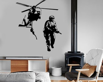 Wall Vinyl Helicopter Soldier Marine Guaranteed Quality Decal Mural Art 1640dz