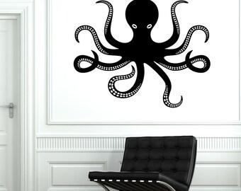 Wall Vinyl Octopus Ocean Marine Sea Ornament Mural Vinyl Decal Sticker 1770dz