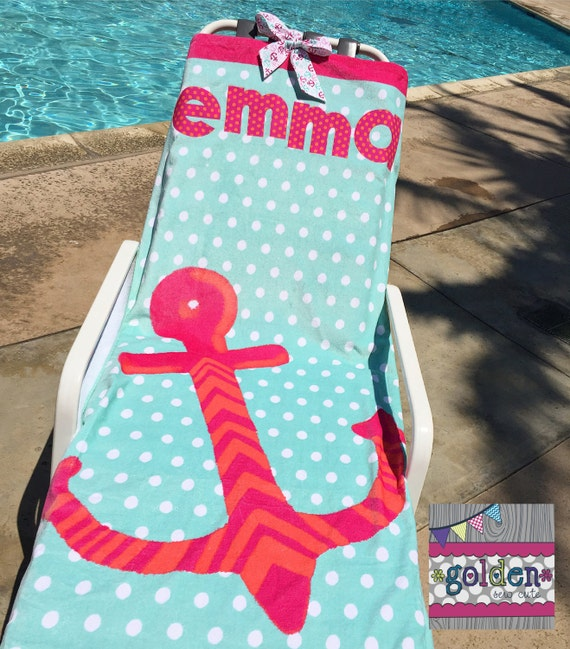 Personalized Name Anchor Pink and Aqua Beach Towel with Fabric Bow, Summer, Birthday Gift