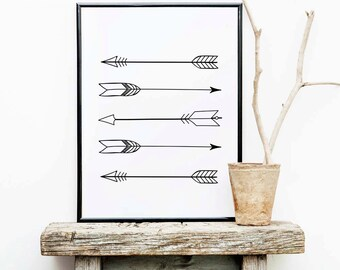 Tribal Arrow Print, Arrow Wall Art, Black and White Art Prints, Printable Arrows Artwork, Arrows Monochrome, Black Arrows, Home Decor Prints