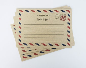 Wedding Guestbook Vintage Airmail Letters - Guest Book Alternatives Wedding Advice Cards - Unique Guestbook Cards