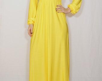 Yellow maxi dress Long sleeve dress Empire waist dress Women