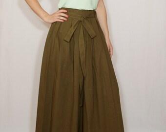 Army green pants Linen palazzo pants Wide leg pant skirt