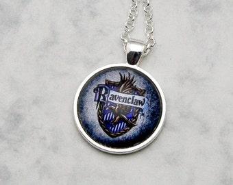 Harry Potter Ravenclaw House Crest Necklace Pendant Set handmade fandom fangirl fashion jewelery inspired HP book books movie emblem raven