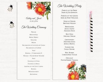 Red flowers wedding program digital download Garden ceremony program template Floral wedding program editable Summer wedding program