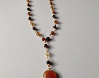 Sunstone and Moonstone Lariat Pendant Necklace