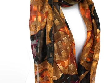 Plaid Brown Scarf, Silky Scarf, Women's Scarves, Spring Scarf, Fashion scarf, Scarf Shawl, Brown Gold Scarf, Women's Scarf, Gifts For Her