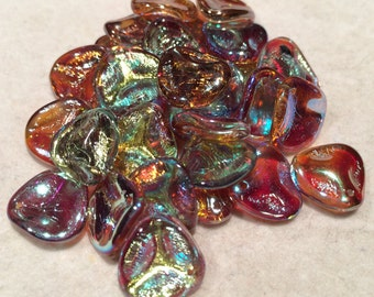Rose Petal Beads, 14x13mm, Crystal Brown Rainbow, 00030-98532, 25 Beads, Czech Glass